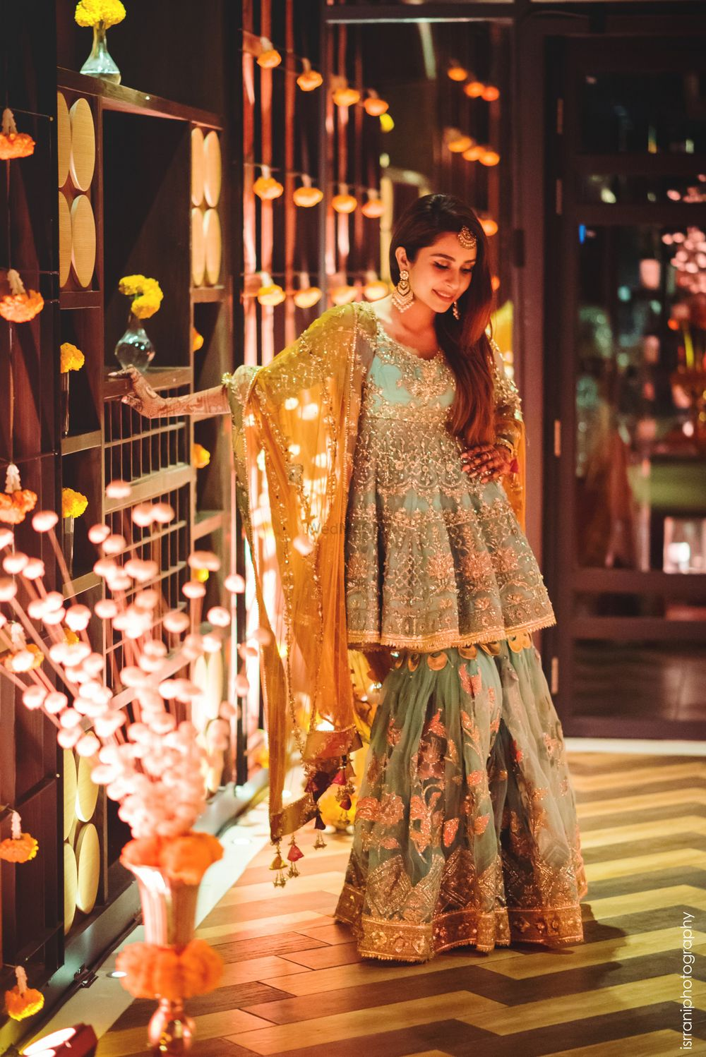 Photo of A gorgeous sharara in offbeat hues the bride wore for her dhol night
