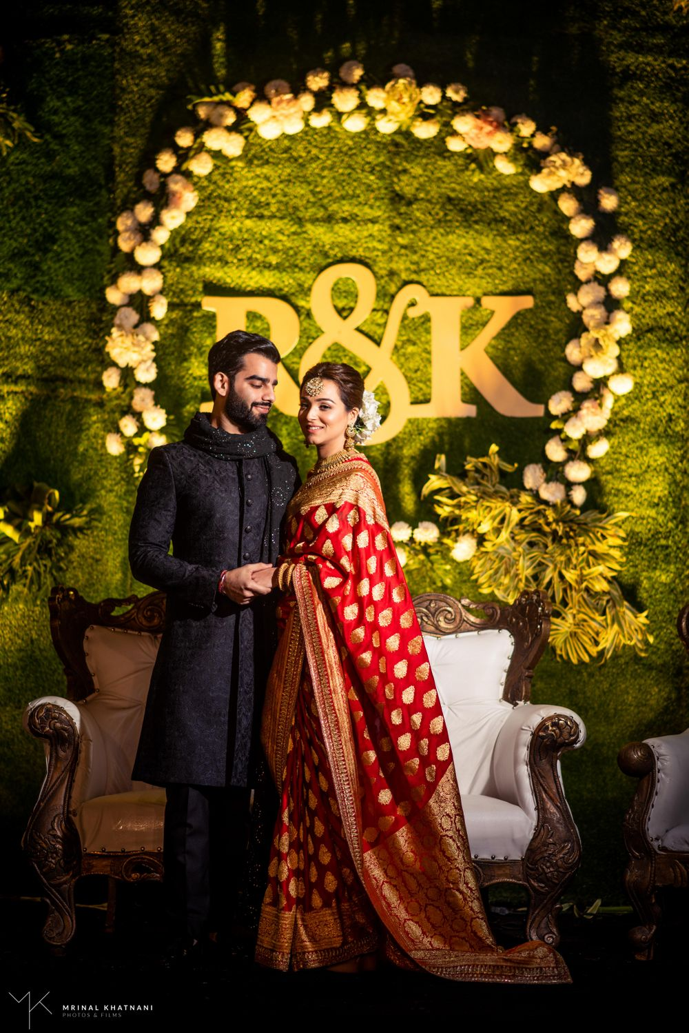 Photo of Beautiful engagement ceremony with a bride in red saree
