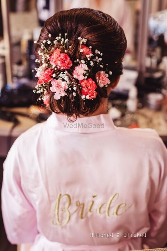 Photo of Bridal bun robe small flowers
