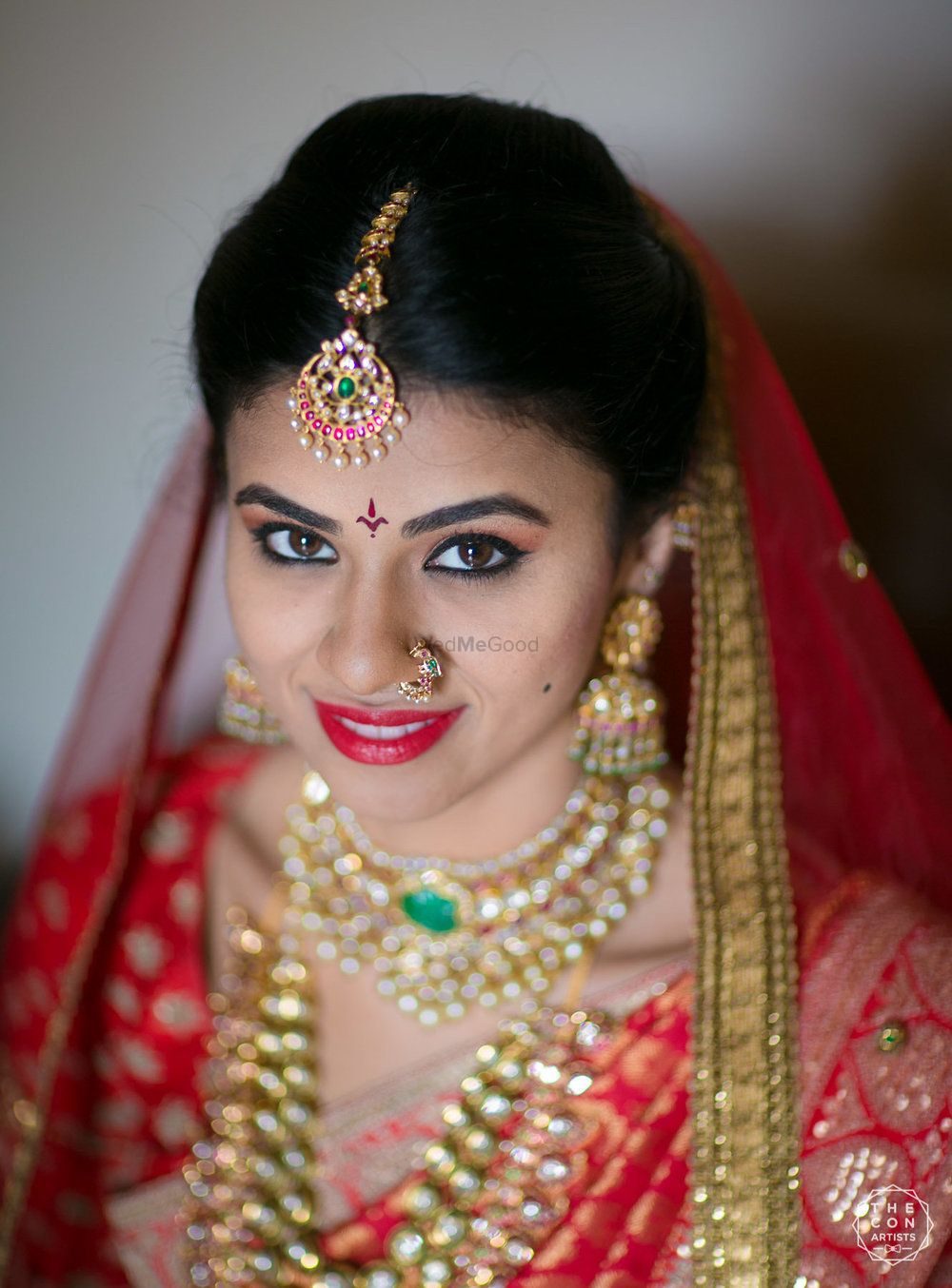Photo of South Indian bridal look and jewellery in red