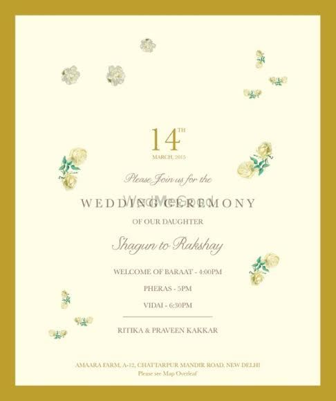 Photo of unique vintage invitation cards in pastel pink and gold border