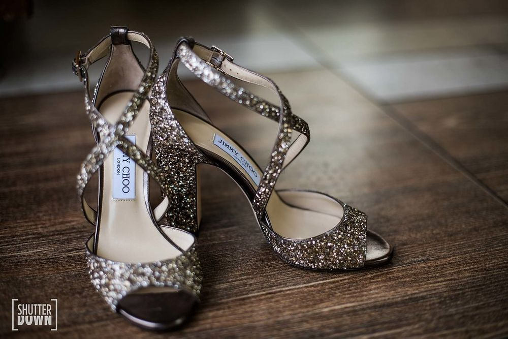 Photo of Shimmery bridal silver jimmy choo heels
