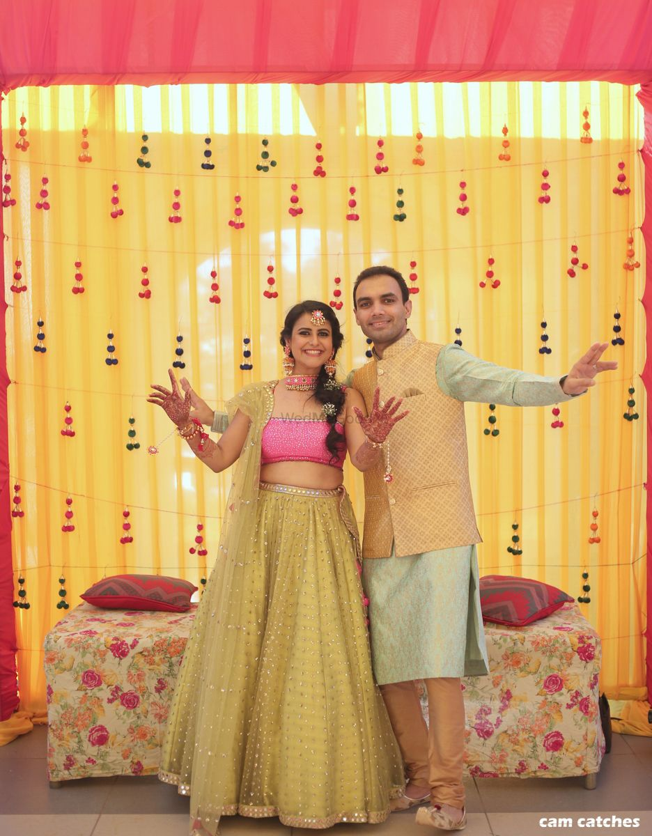 Photo of Light pink and light green lehenga for mehendi