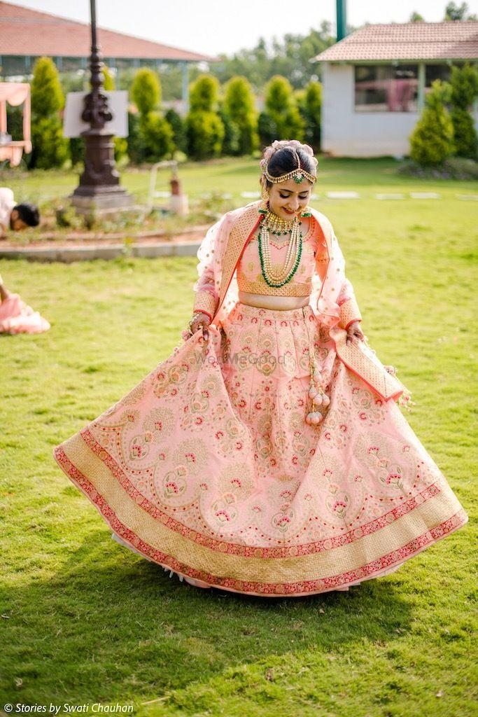Photo of Simple peach bridal lehenga