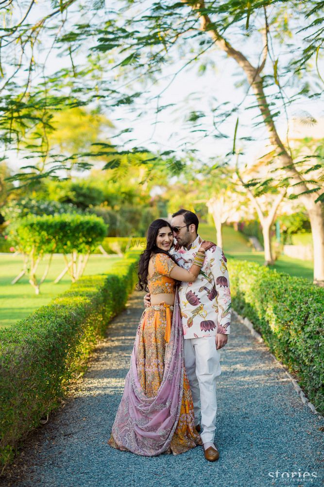 Yellow Wedding Photoshoot & Poses Photo Yellow and lavender lehenga by Anamika khanna