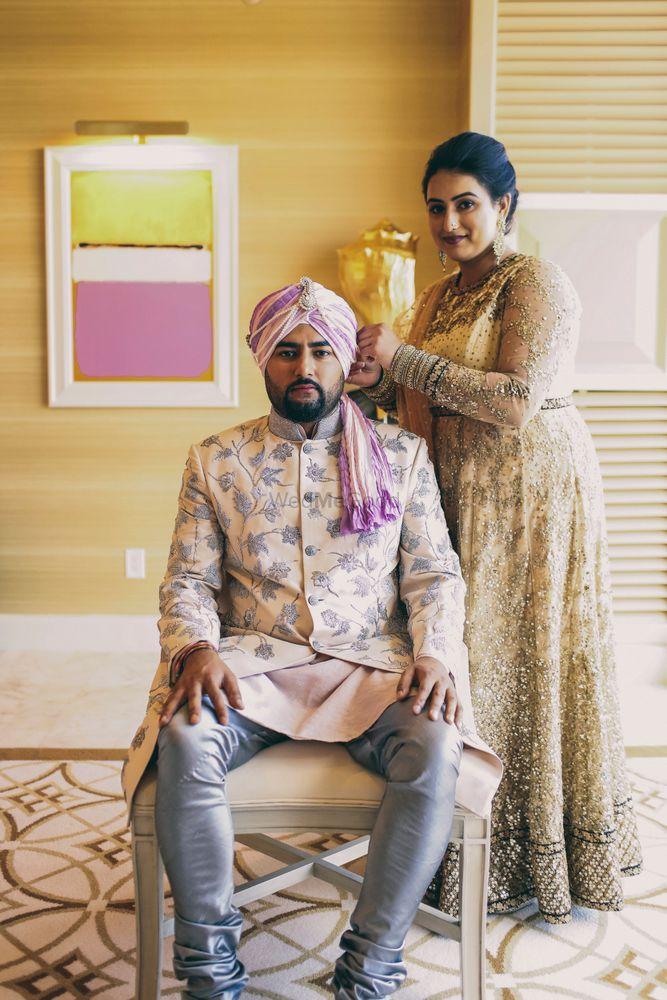 Photo of Printed bandhgala jacket for groom