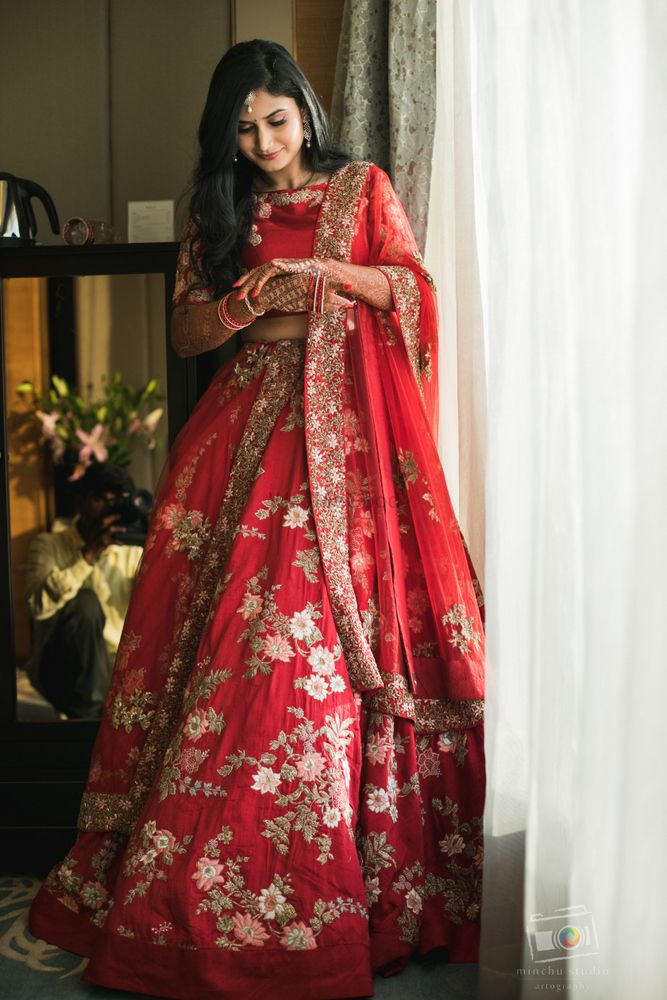 Photo of Red floral lehenga for reception