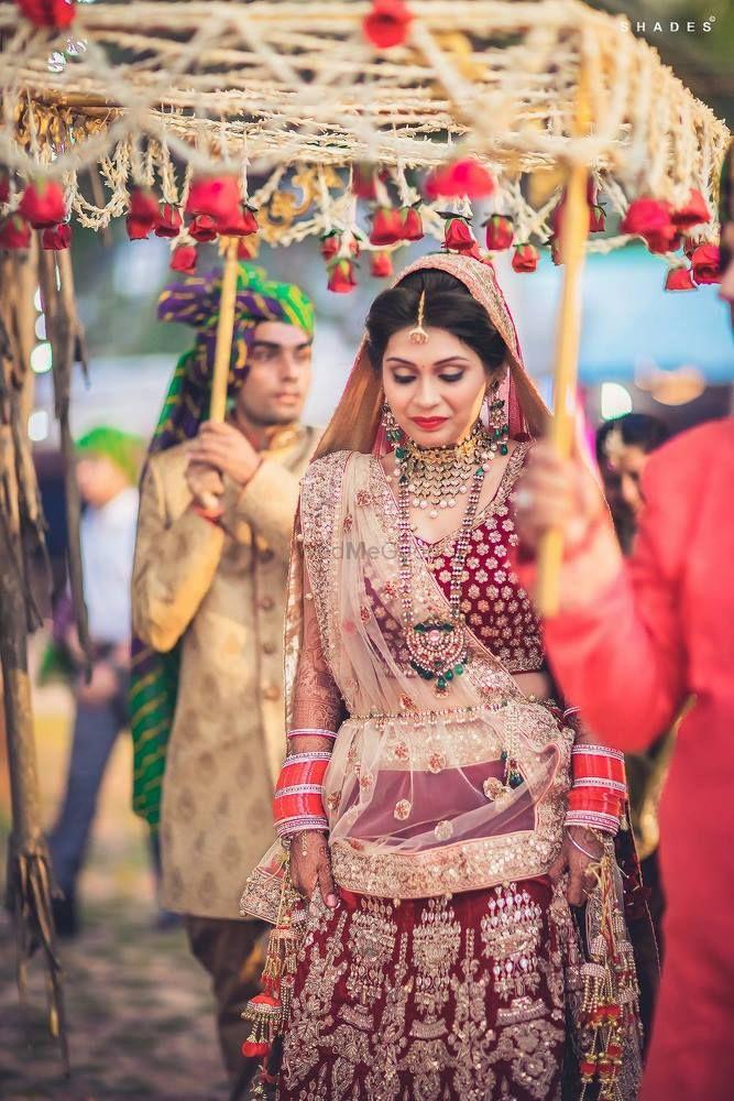 Red Bridal Lehenga Photo bride entry
