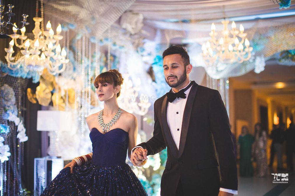 Photo of Navy blue off shoulder gown