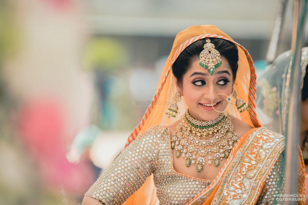 Dark Green Wedding Photoshoot & Poses Photo orange dupatta