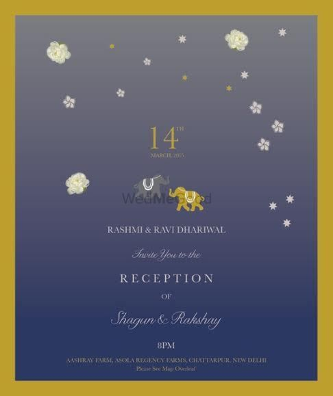 Photo of blue grey invitations with elephant motif