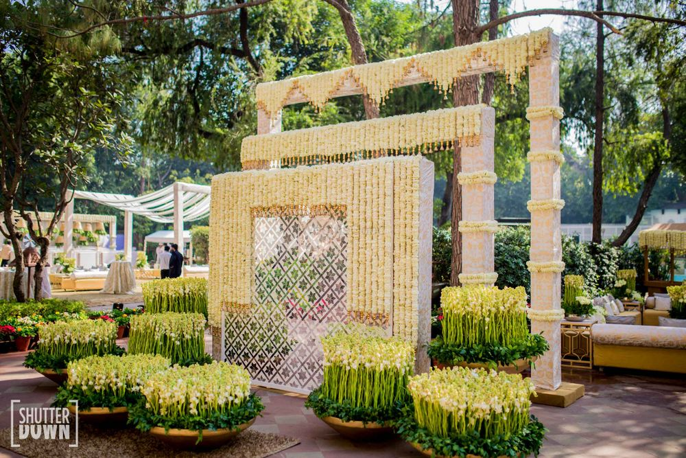 Photo of Mogra decor at the entrance for a day sangeet ceremony