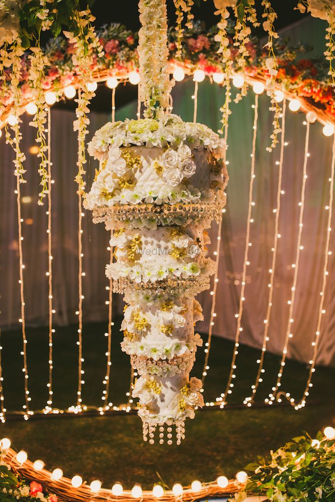 Photo of An inverted wedding cake