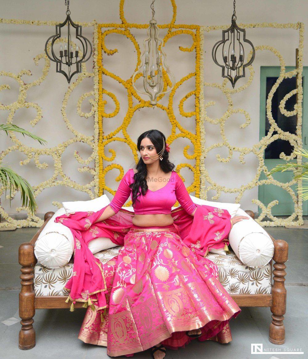 Photo of Bright pink simple benarasi lehenga for engagement