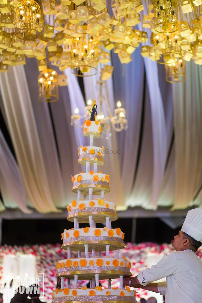 Photo of Unique wedding cake with 7 tiers