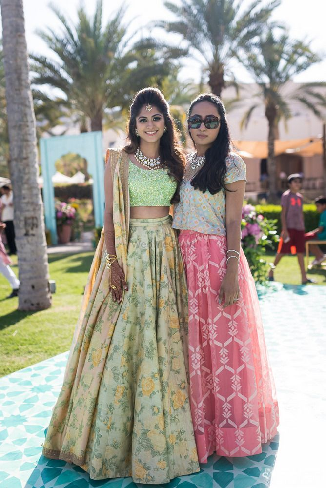 Light Green Outfits Photo peach and mint lehenga