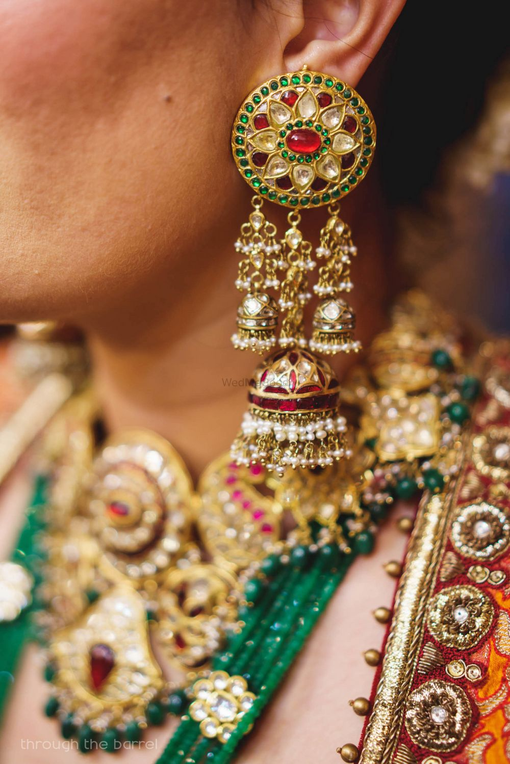 Photo of Bridal earrings with Jhumki shape hangings