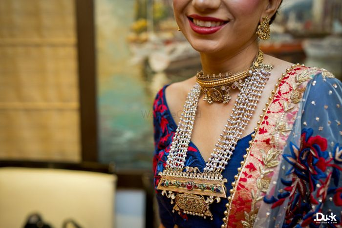 Photo of Gold Choker and Multi String Pearls Haar