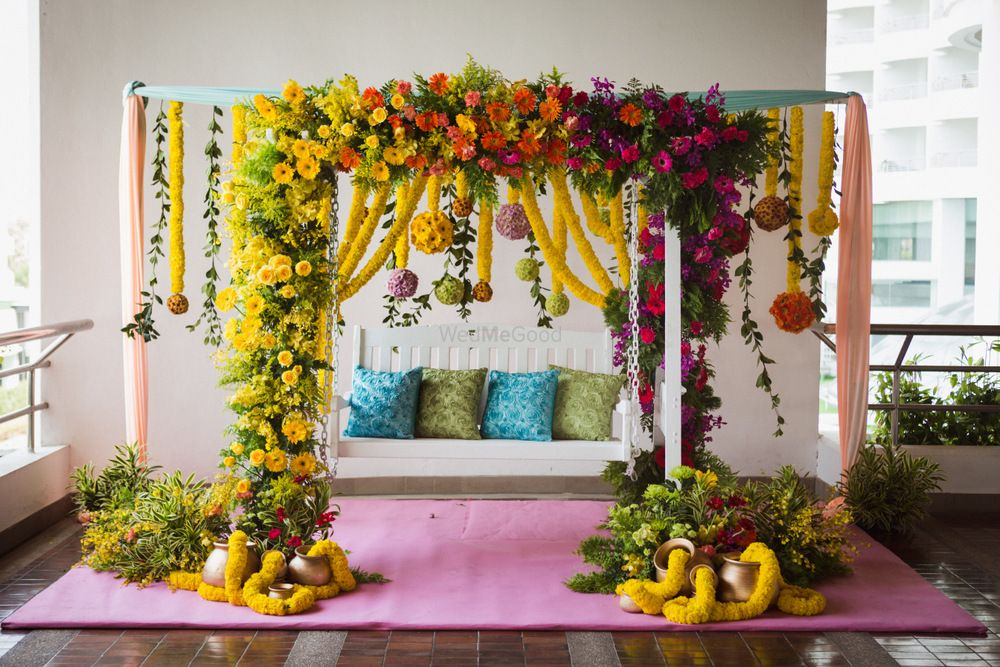 Photo of Pretty floral swing for mehendi