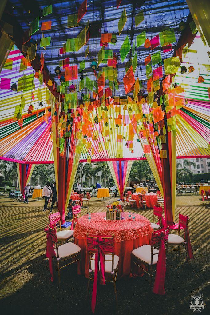 Photo of Mehendi table setting idea with hanging decor