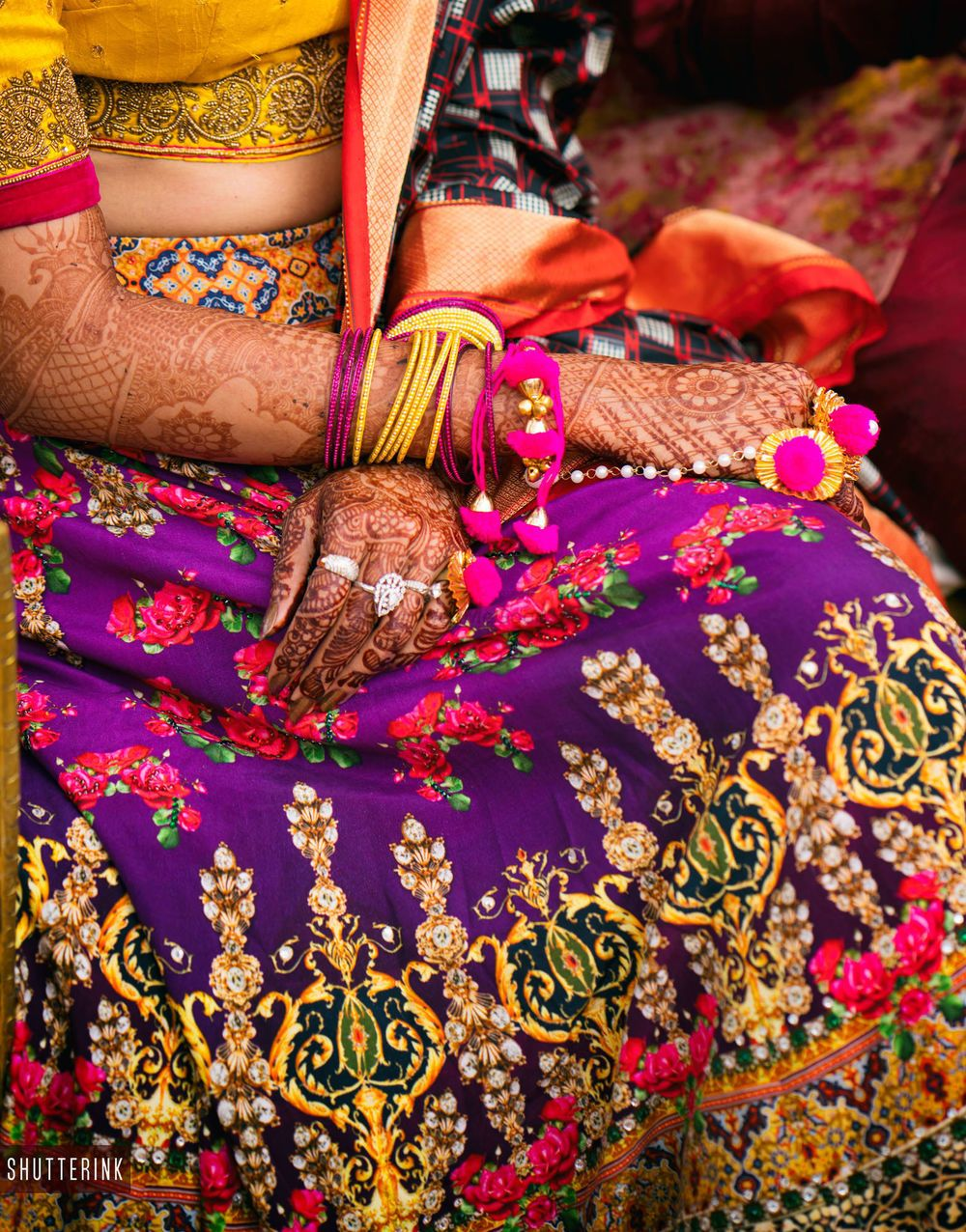 Photo of Purple quirky mehendi lehenga