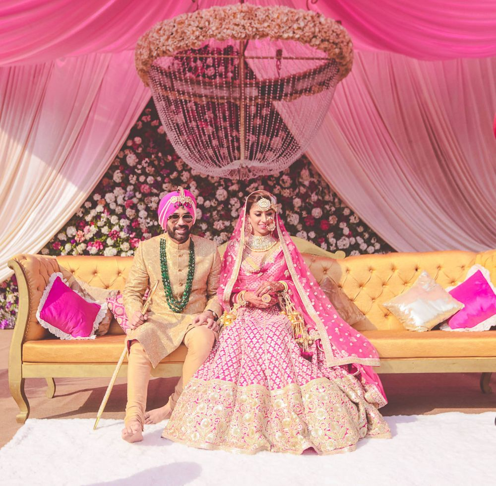 Photo of bride and groom stage