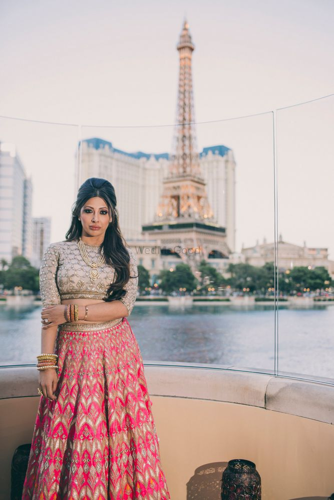 Photo of Fuschia pink and gold lehenga by Anita DOngre
