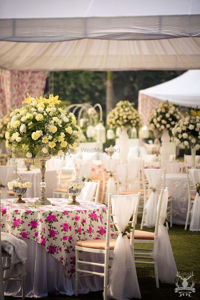 Photo of floral print tablecloth