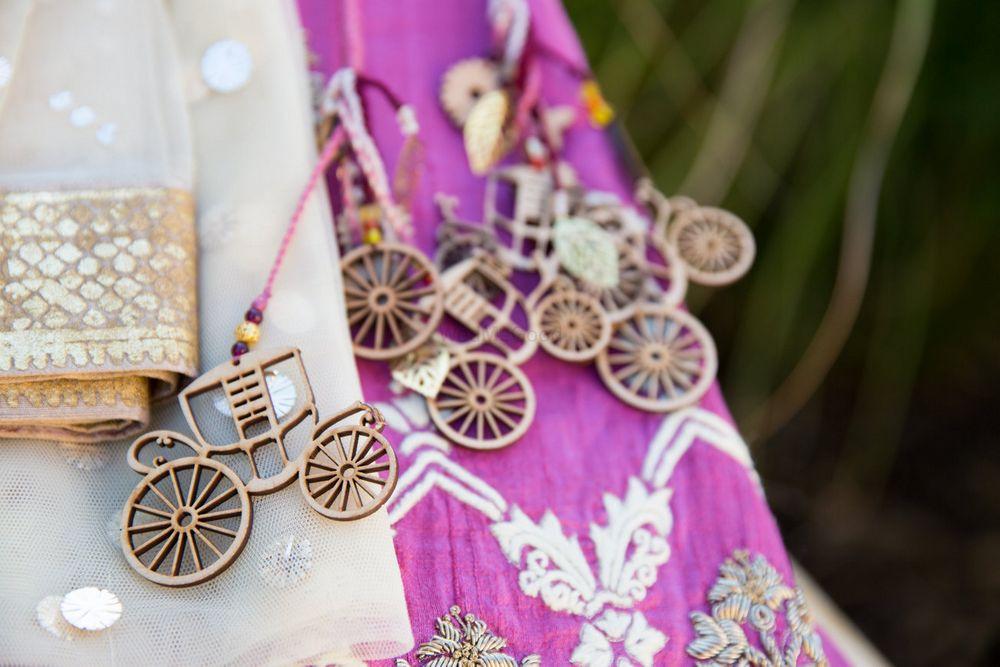 Photo of brides lehenga tassels