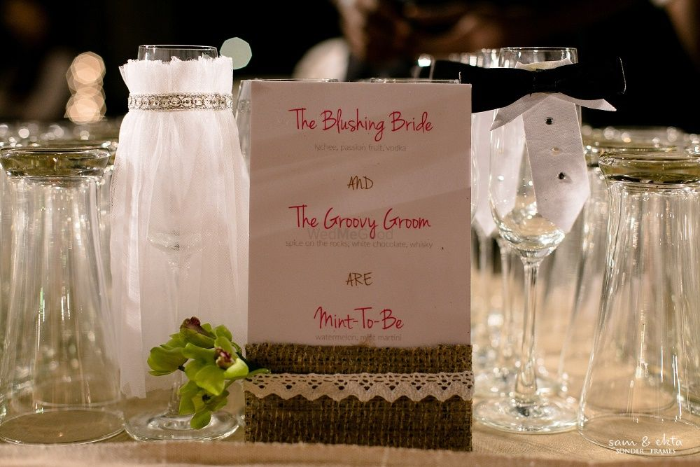 Photo of Bride and Groom Table Decor with Personalised Message