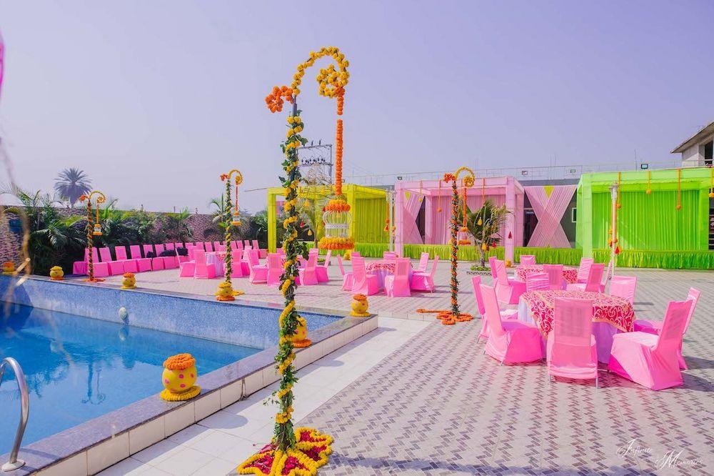 Photo of A floral decor arrangement for mehendi.