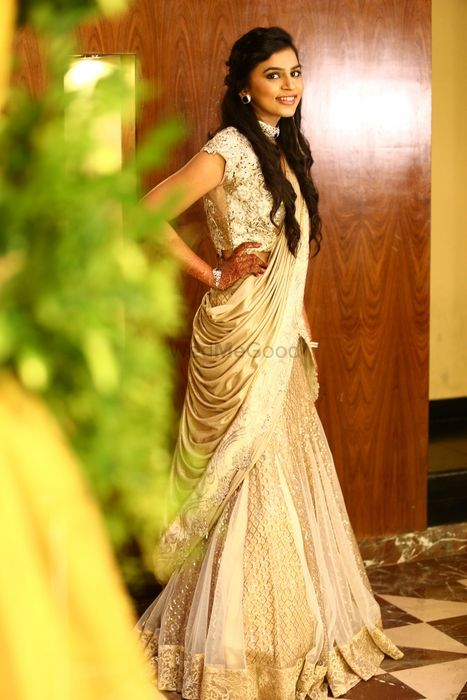 Photo of pre draped lehenga with attached dupatta