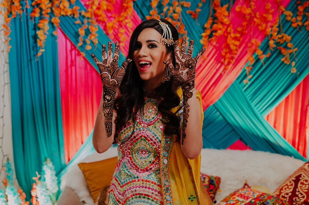 Photo of A bridal portrait clicked on her mehendi day
