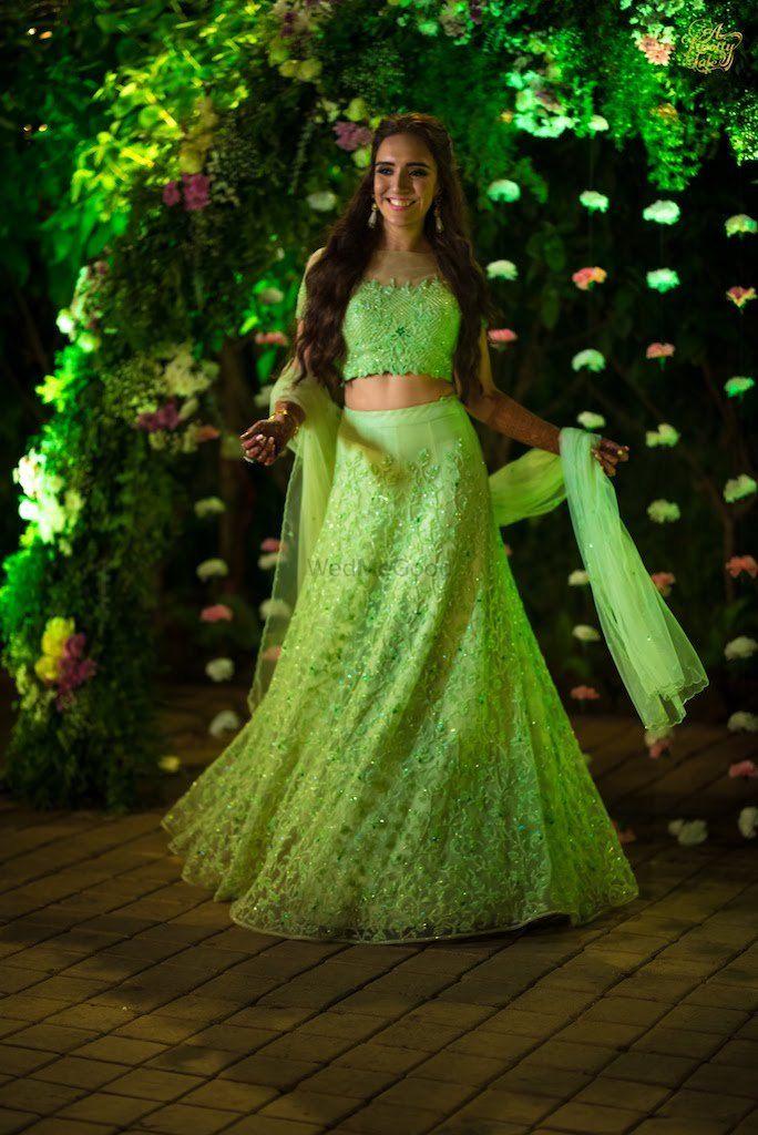 Photo of Light green engagement lehenga