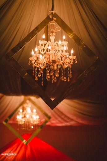 Photo of chandelier inside frame
