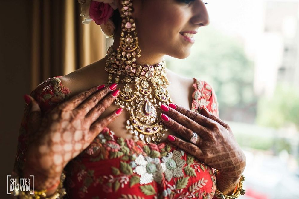 Photo of Unique bridal necklace with polki