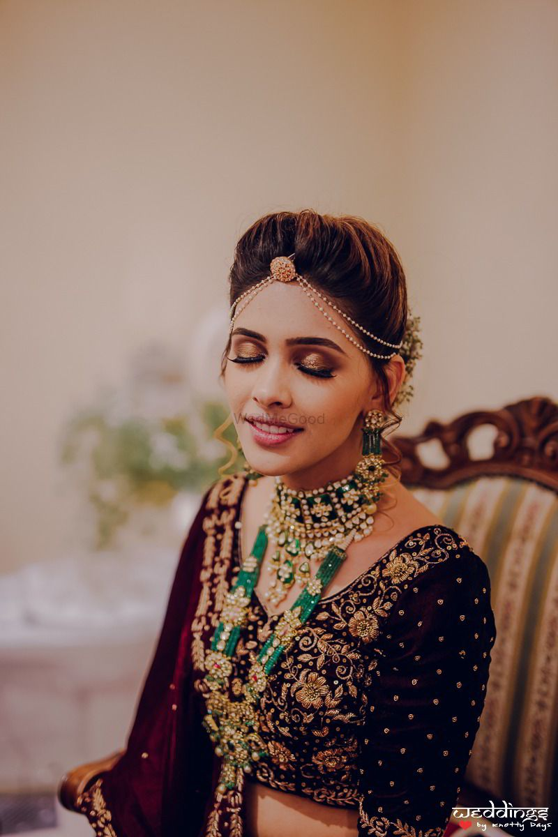 Photo of Layered bridal necklaces with choker and long beaded one