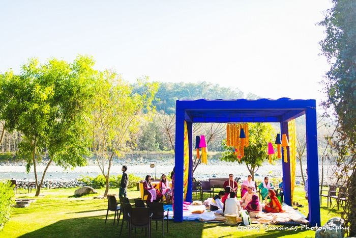Photo of Haldi setup with ink blue tenting to provide contrast againbst yellow haldi