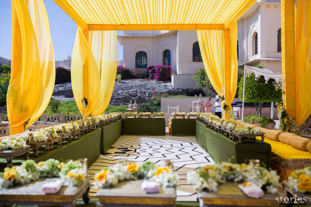 Photo of Yellow and white decor for haldi function