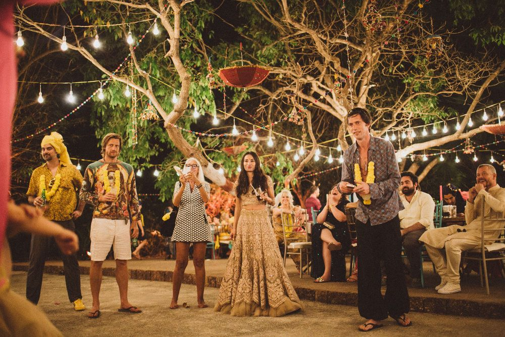 Photo of Bohemian outdoor Indian wedding with fairylights