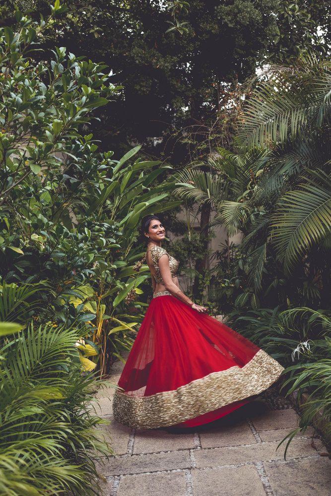 Photo of Lightweight red bridal lehenga