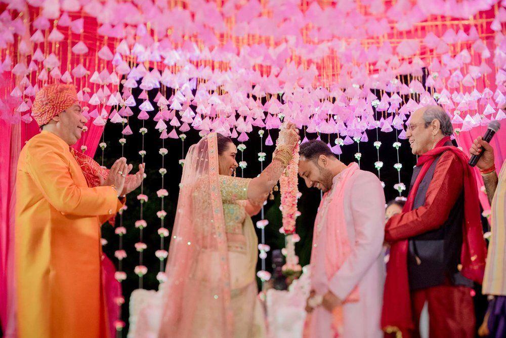 Photo of Mandap decor with pink gota tassels