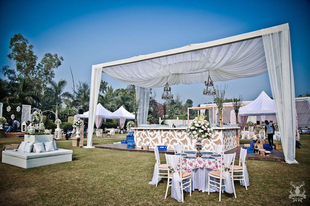 Photo of Morning wedding decor in white