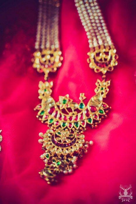 Photo of kundan gold and emerald tukdi with strings