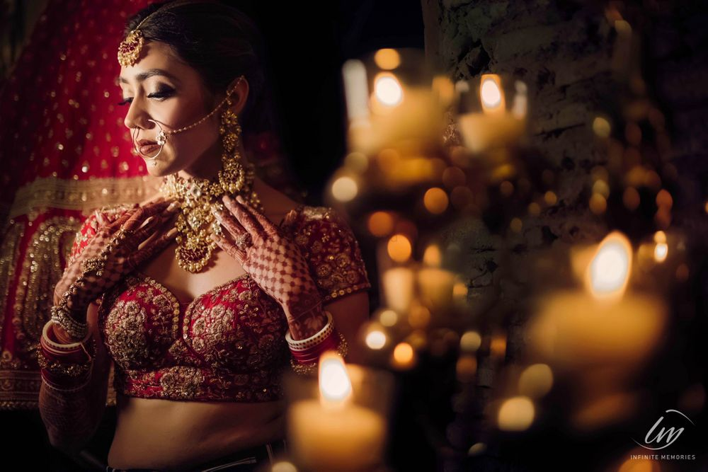 Photo of wedding day bridal portrait idea with jewellery and blouse