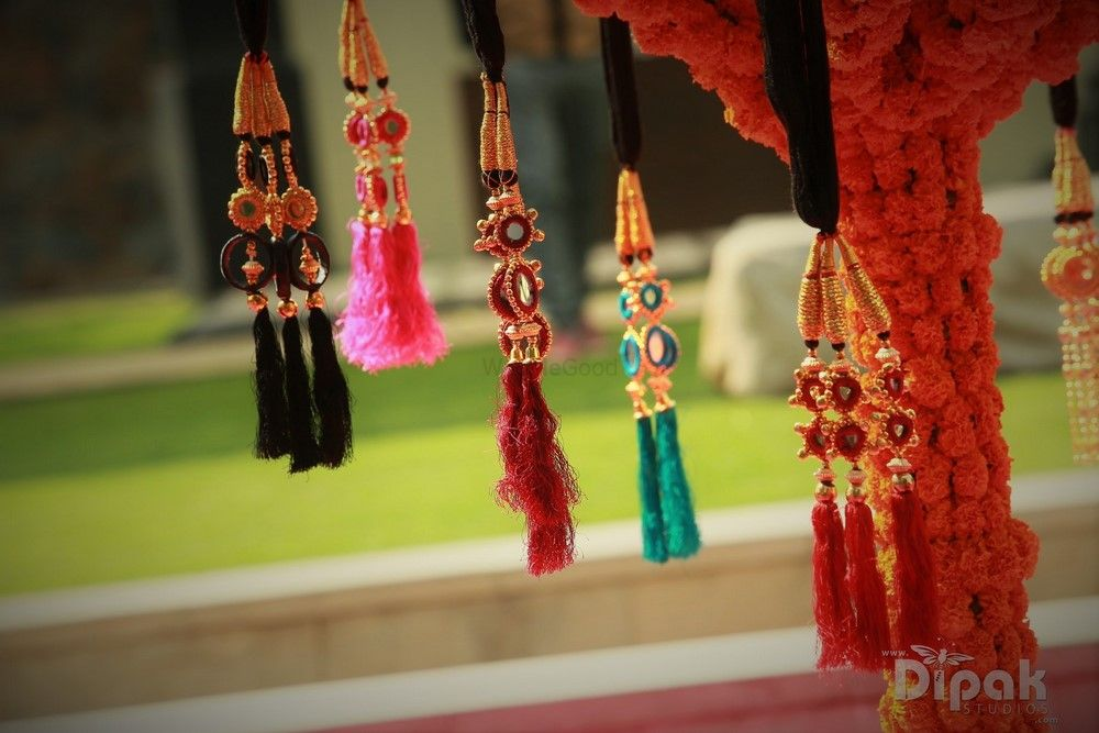 Photo of Colourful Hanging Parandi as Prop for Mehendi