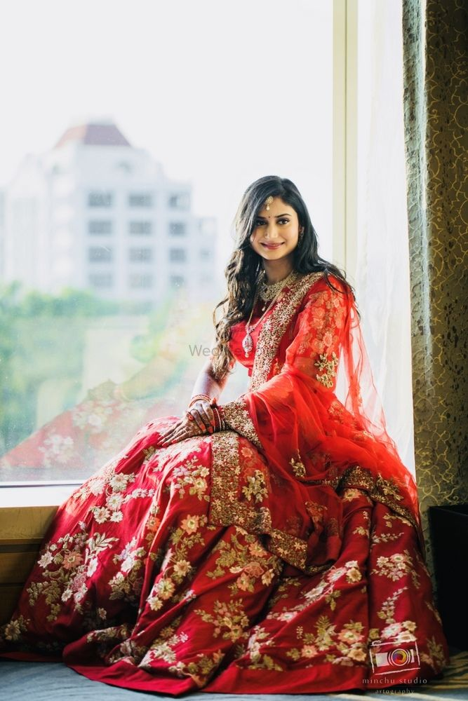 Photo of Rd lehenga with floral embroidery for reception