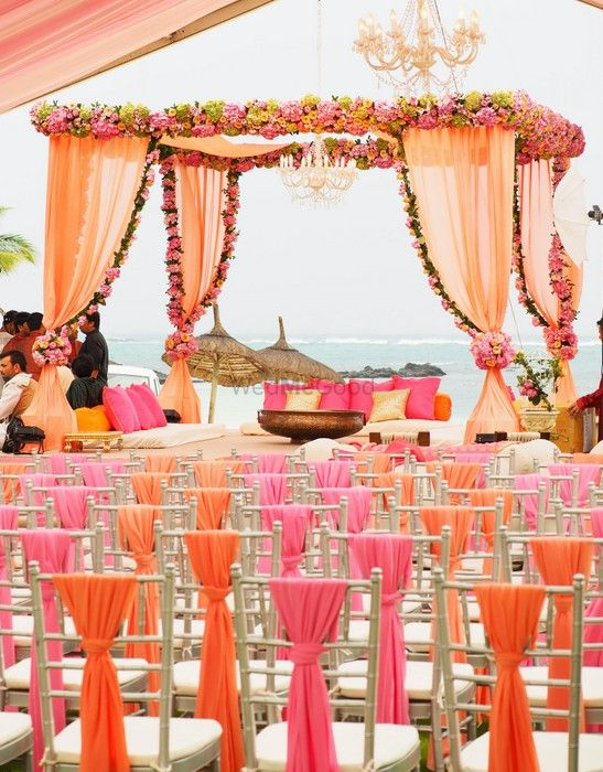 Photo of peach wedding mandap