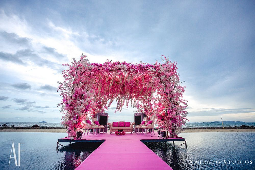 Photo of Gorgeous beachside floral mandap in pink