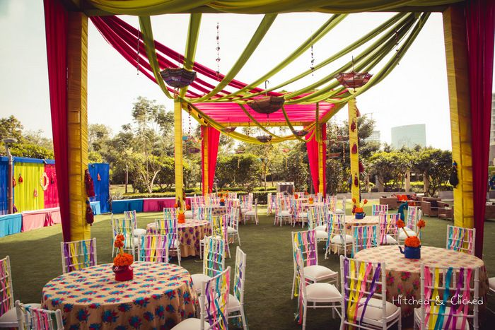 Photo of Funky mehendi theme with printed table linen